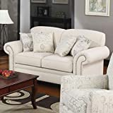 Coaster Norah Traditional Oatmeal/Red Brown Love Seat with Antique Inspired Detail