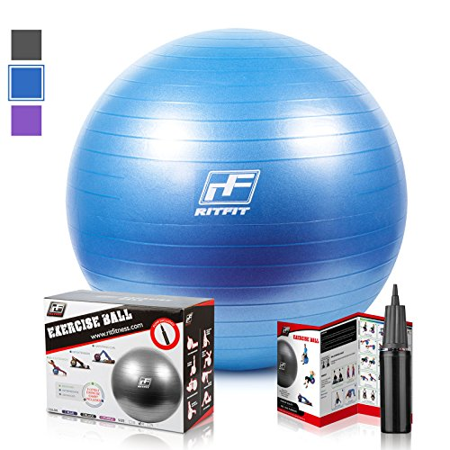 2000lbs Exercise Stability Ball By RitFit, Anti Burst for Pilates Yoga Gym Fitness ,Use As Desk Chair, Hand Pump& Workout Guide Included,Gym Quality