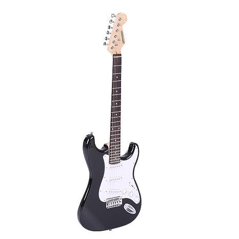 ammoon Tamaño Completo Guitarra Eléctrica Álamo de Madera de Palisandro Cuerpo Funda con Correa Cuerdas para