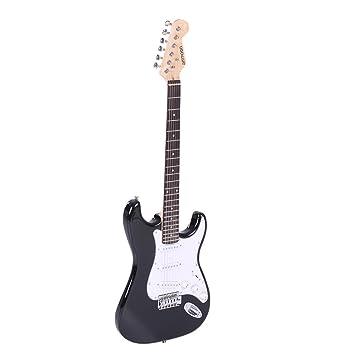 ammoon Tamaño Completo Guitarra Eléctrica Álamo de Madera de Palisandro Cuerpo Funda con Correa Cuerdas para Principiantes: Amazon.es: Instrumentos ...