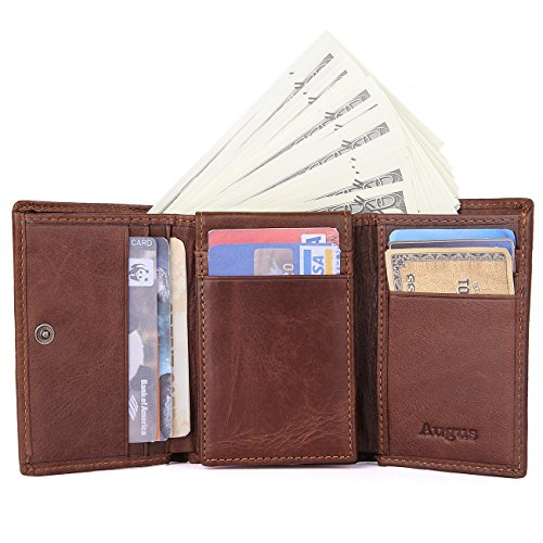 (Men's Trifold Leather wallet with RFID Blocking Credit Cards holder)