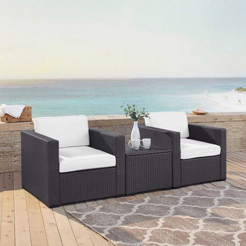 Crosley KO70104BR-WH Biscayne 3 Piece Wicker Set with White Cushions 2 Chairs and Coffee Table