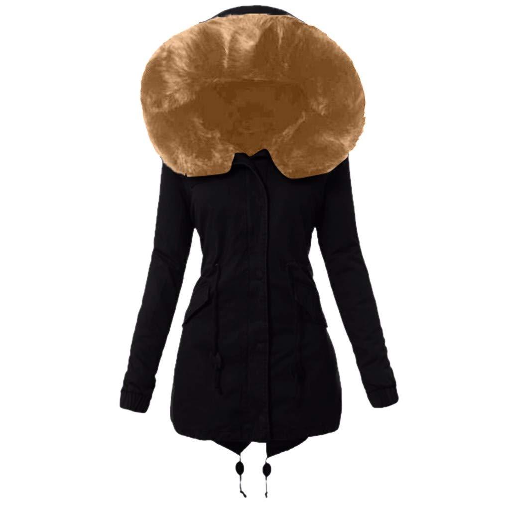 Dainzuy Women's Winter Warm Wool Cotton-Padded Coat Parkas Hooded Thicken Faux Fur Lined Outwear Jacket Navy by Dainzuy Womens Outerwear