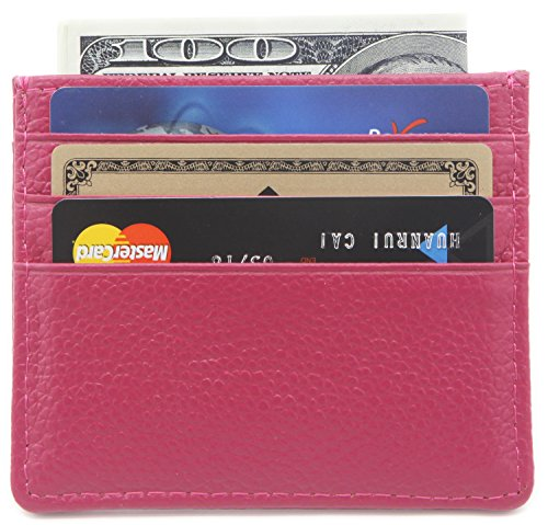 DEEZOMO Genuine Leather RFID Blocking Card Case Wallet Slim Super Thin 6 Card Slots Compact Wallet - Rose ()