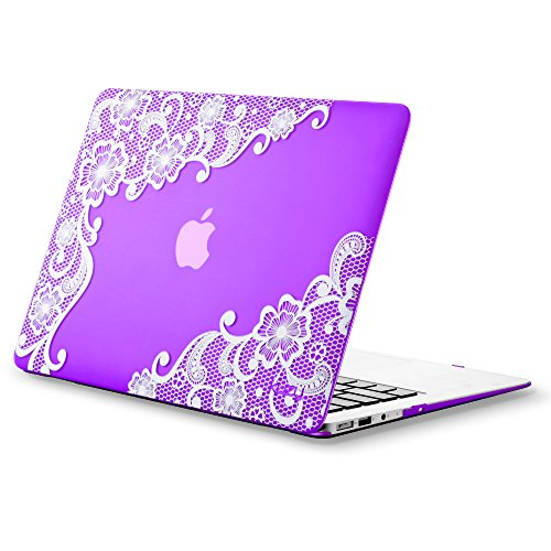 "Kuzy AIR 13-inch Rubberized Hard Case for MacBook Air 13.3"" (A1466 & A1369)(NEWEST VERSION) Shell Cover Matte - Lace PURPLE"