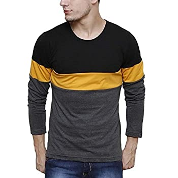 Urbano Fashion Mens Black, Grey, Yellow Round Neck Full Sleeve T-Shirt