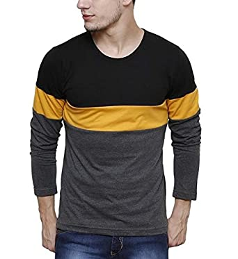2a7097de85 Urbano Fashion Men's Black, Grey, Yellow Round Neck Full Sleeve T ...