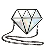 Symuitrc Silver Hologram Diamond Small Shoulder Bags PU Leather Crossbody Chain Bag for Womens