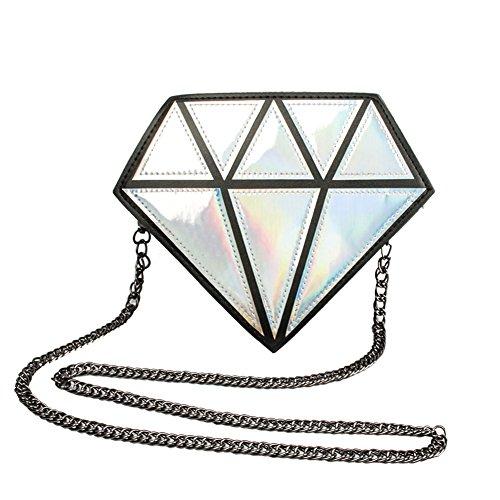 Myathle Women's Silver Shaped Hologram Diamond Shoulder Bag (Silver)