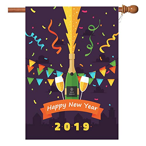 W&X New Years Flag,Happy New Year Garden Flag with Two Grommets 28x40 Inch Double Sided Printing 2 Layer Burlap Valentine Flags for New Year Decoration -