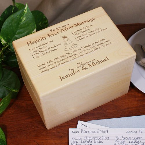 GiftsForYouNow Engraved Happily Ever After Recipe Box Gift with Maple Wood Construction and Holds 1,000 Recipe Cards