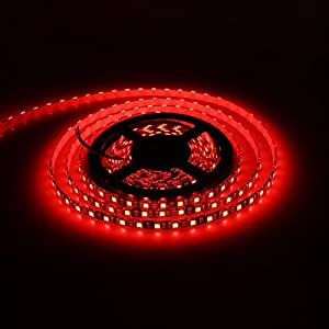 XKTTSUEERCRR 16.4ft/5M, Black PCB 5050 SMD 300LED, IP65Waterproof Flexible Strip Light for Outdoor/Indoor/Car/Booth/Stage/House Celebration Decoration + DC Connector (Power Supply Not Included)-Red