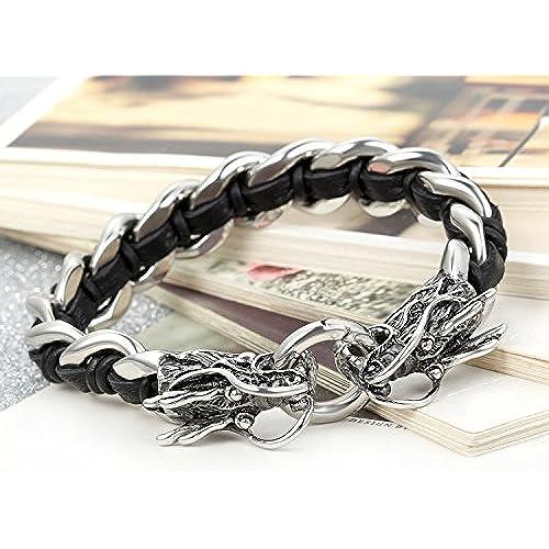ed47c5a7f7b0 El servicio durable Flongo Joyería Pulsera de cuero trenzado con cadena de acero  plateado brazalete de