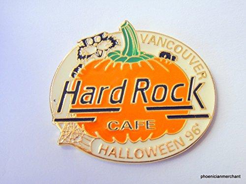 Hard Rock Cafe Vancouver Halloween 1996 Black Cat Behind Orange Pumpkin Old -