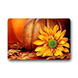 "Cool Boys Custom Machine-washable Door Mat Pumpkins and Sunflower Indoor/Outdoor Decor Rug Doormat 23.6""(L) x 15.7""(W)"