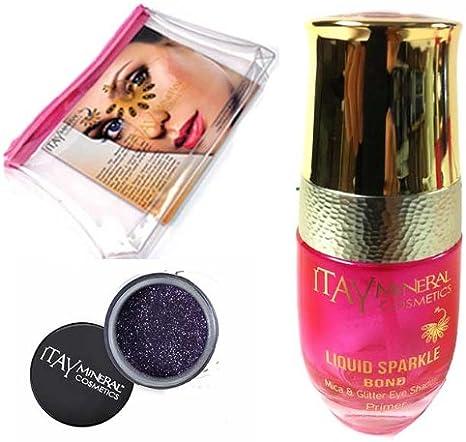 Itay Mineral Cosmetic cartucho de mica con purpurina Bond (nuevo. Botella de cristal rellenable) + polvo de purpurina para en Liliana G24+ neceser (paquete de 3unidades)