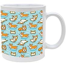 Ceramic Playful Corgi Pattern On Blue 11oz Coffee Mug Cup