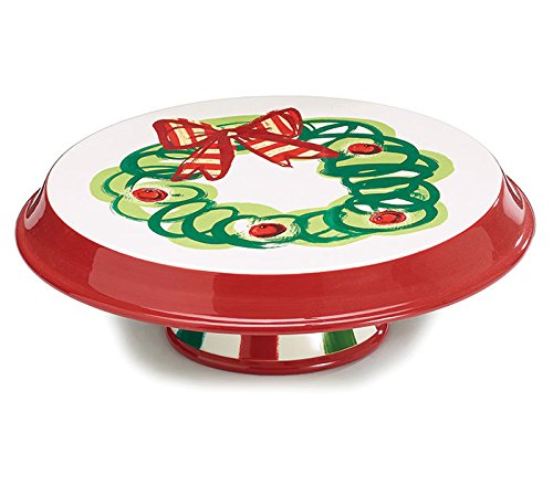 (Burton and Burton Ceramic Cake Stand Dip Chip Plate Holly Christmas Wreath )