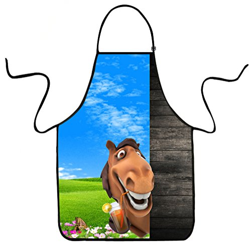 Apron Horse (VIPbuy Funny 3D Cartoon Horse Print Adjustable Kitchen Bib Apron Unisex for Cooking BBQ Party Commercial Craft)