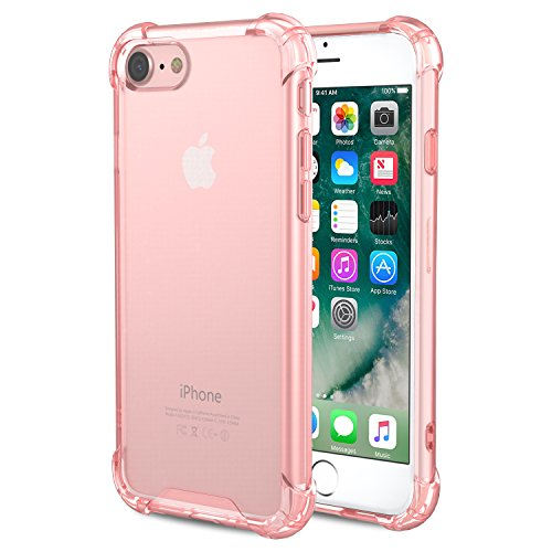 For iPhone 7 Case / iPhone 8 Case, MoKo Crystal Clear Shock Absorption Reinforced Corners TPU Bumper Cushion + Hybrid Rugged Transparent Panel Cover for Apple iPhone 7 / 8, LIGHT PINK Clear Pink Case