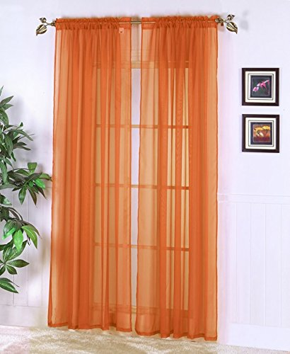 Amari Linen 2 Piece Sheer Voile Panel with Rod Pocket Window Curtains (55″x84″, Orange)