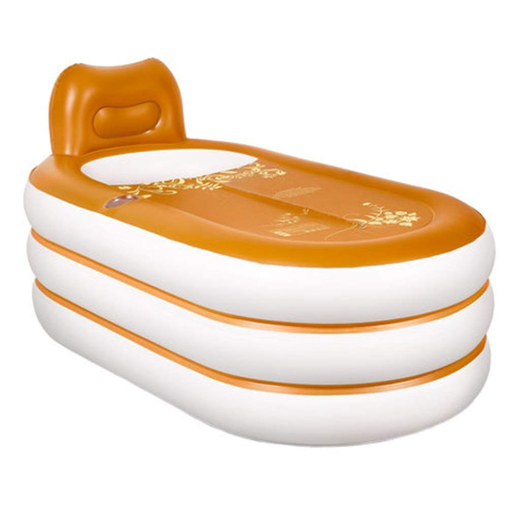 Folding bathtub Household Inflatable Adult Folding Plastic Bathtub Children's Pool Adult Bath Barrel Bathroom Inflatable Large Capacity Bathtub Gift (Color : Gold, Size : 1528575cm)