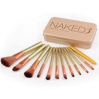 JER 12pcs / set pinceau de maquillage Set pinceaux de maquillage Fondation Blending fard à joues Eyeliner Poudre Pinceau de maquillage Kit de brosse (or) Produits Beauté Pour Maquillage