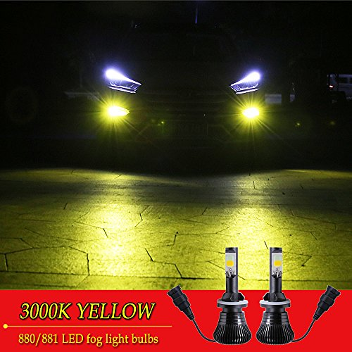 880 881 LED Fog Lights Bulb Yellow Amber Gold Golden 3000K for Trucks Cars Lamps Kit Plug Error Free All in One High Power Replacement Bulbs 12V 30W 2800LM Super Bright COB Chips 1 Year Warranty【1797】