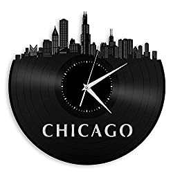 VinylShopUS - Chicago Illinois Skyline Vinyl Wall Clock Vintage Repurposed Record Black
