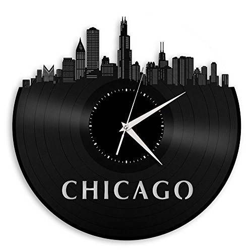 - VinylShopUS - Chicago Illinois Skyline Vinyl Wall Clock Vintage Repurposed Record Black