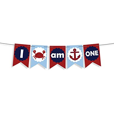 I Am One Banner Nautical Anchor Or Crab Banner For Baby First Birthday Decorations Boy Favors-nautical High Chair Banner -Cake Smash Banner Crab Sign Ocean Party Decor -Pirate Party Supplies 1st Bady: Toys & Games