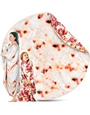 Victoria Peak Double Sided Pizza + Tortilla Blanket – 71 Inches Burritos Throw Blanket for Kids Adults Unisex   Soft Comfortable Flannel Taco Novelty Tortilla Blanket Perfect for Picnic