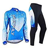 NUCKILY Women's Mountain Bike Cycling Long Sleeve Sublimation Printed Jersey Set