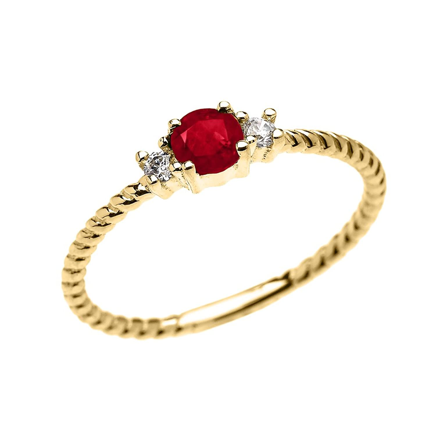 10k Yellow Gold Dainty Solitaire Ruby and White Topaz Rope Design Stackable/Proposal Ring
