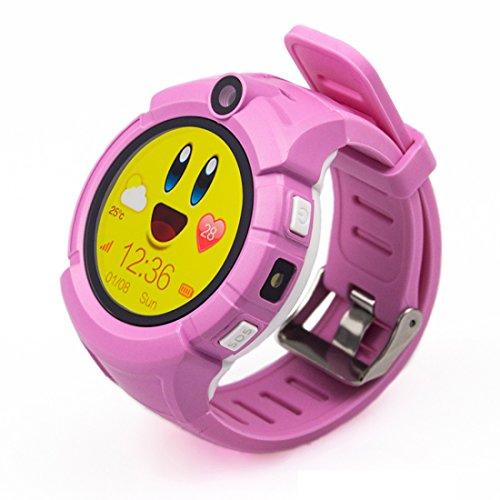 PINCHU Q360 Kids Smart Watches GPS Location Child Touch Smartwatch SOS Anti-Lost Monitor Baby Watch Pk Q50 Q90,Pink