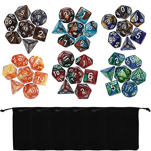 Tharv❤42PCS TRPG Game Dungeons & Dragons Polyhedral D4-D20 Multi Sided Acrylic Dice