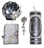 Catholic Baptism Kit with Towel, Candle, Rosary and Metal Shell for Boys and Girls. Handmade in Mexico for Catholic Gift and Godparents. Holy Spirit Baptism Candle Set. Kit de Bautizo