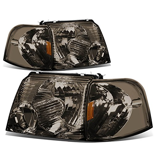 For Ford Explorer U152 Pair of Smoke Lens Headlight+Amber Corner Signal Light