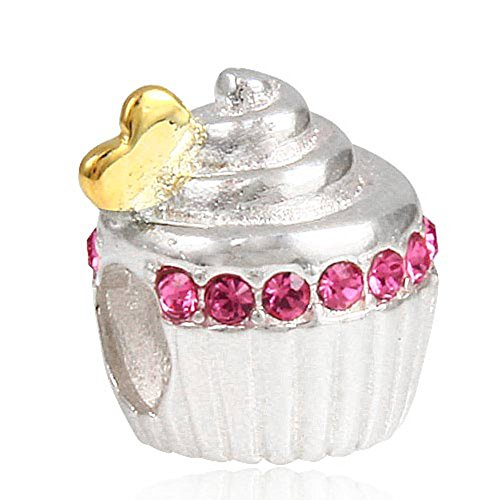 Choruslove Sweet Cupcake Charm with Golden Heart for Snake Chain Bracelet(Rose Crystal) (Piece Of Cake Charm)