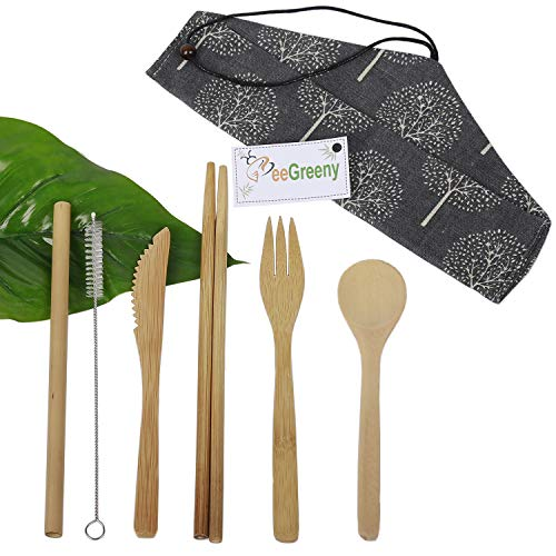 Bamboo Utensils Set by BeeGreeny - Knife, Fork, Spoon, Chopsticks, Straw, Cleaning Brush & Pouch - Portable Travel Cutlery - Reusable and Eco-friendly Flatware for Camping, Picnics and Office Lunch