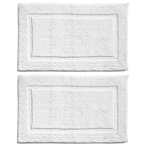 mDesign Soft 100% Cotton Luxury Hotel-Style Rectangular Spa Mat Rug, Plush Water Absorbent, Decorative Border - for Bathroom Vanity, Bathtub/Shower, Machine Washable - Pack of 2, White by mDesign