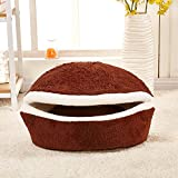 M&G House Cat Bed Cave, Washable Hamburger Style Shell Nest Windproof Waterproof Removable Pet Cat Bed House Thermal Hiding Dog Sleeping Bag (M, Coffee) Larger Image