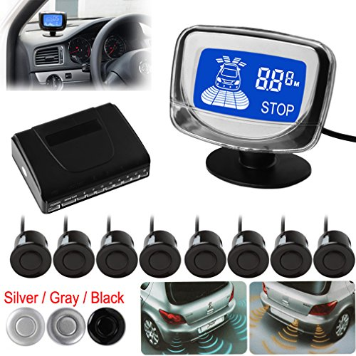Waterproof 8 Rear and Front View Car Parking Sensors with Display Monitor (Silver) For Sale