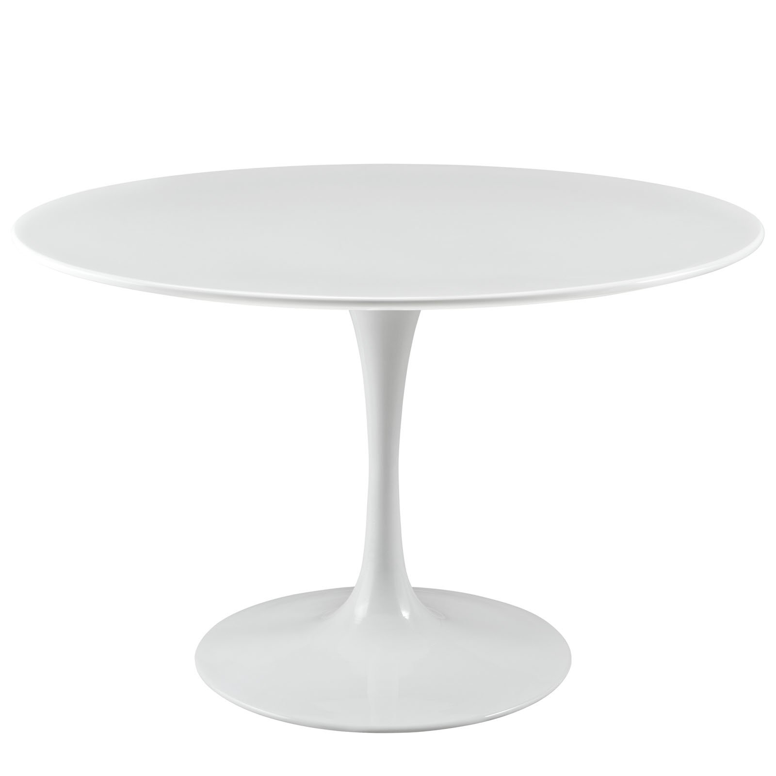 Modway Lippa 47'' Mid-Century Modern Kitchen and Dining Table with Round Top and Pedestal Base in White
