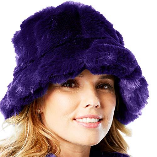 Roamans Faux-Fur Bucket Hat - Deep Grape, 0