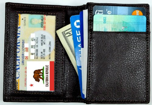 Rfid Blocking Genuine Leather Card Case Wallet With Gusseted Pocket, Credit Slots, (Gusseted Business Card Case)