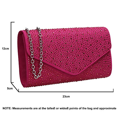 Suede Cadence Fuchsia Diamante Envelope SWANKYSWANS Ladies Womens Clutch Bag xEw8FZqd