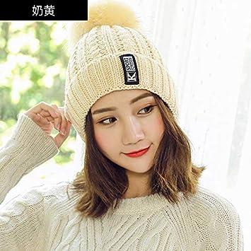 OWAXHWD Sombreros de Mujer Gorra de Invierno Sombrero Mujer Moda de Invierno Linda Bola de Pelo