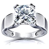 Product review for Cushion-cut Moissanite Solitaire Engagement Ring 2 4/5 CTW 14k White Gold