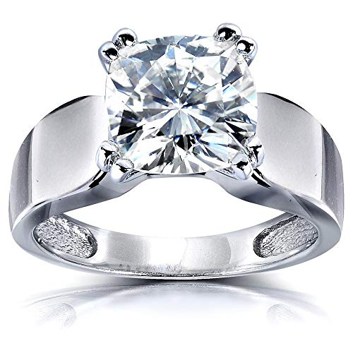Cut Moissanite Solitaire - Cushion-cut Moissanite Solitaire Engagement Ring 2 4/5 CTW 14k White Gold, Size 6.5, White Gold